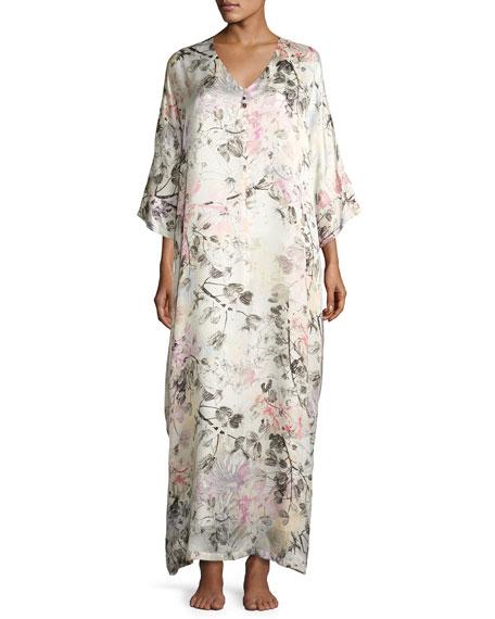 Christine Designs Juliet Floral-Print Silk Lounge Caftan