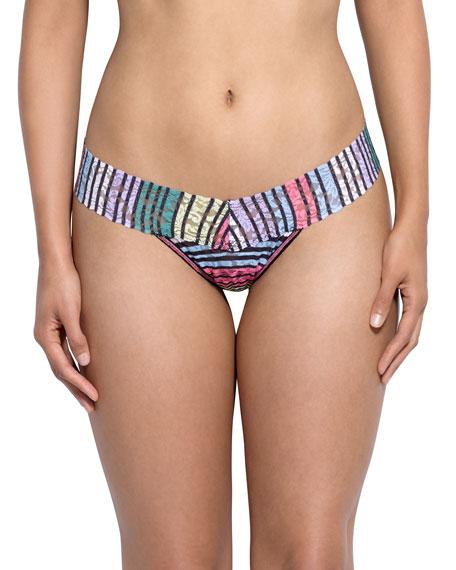 Chalk Stripe Signature Lace Low-Rise Thong, Multi