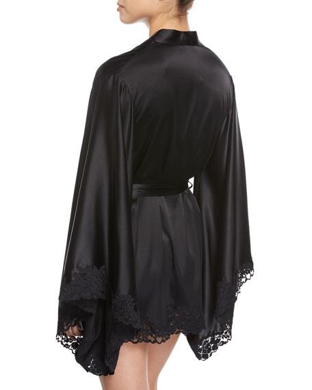 Azalea Lace-Trimmed Short Kimono Robe