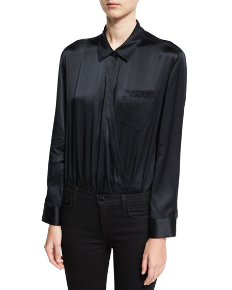 Long-Sleeve Wrap Shirt Bodysuit W/ Threadwork, Black