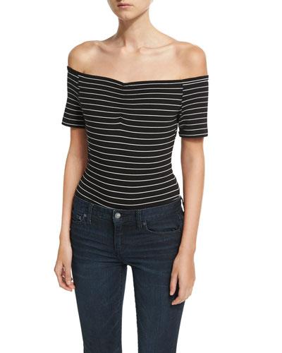 Striped Off-the-Shoulder Bodysuit, Black