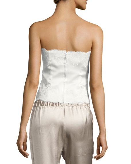 Lolita Lace-Trim Silk Charmeuse Bustier, White