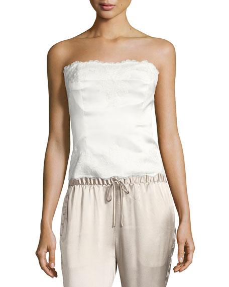 Josie Natori Lolita Lace-Trim Silk Charmeuse Bustier, White