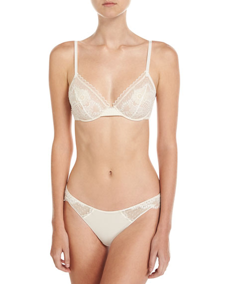 Oui Lejaby Lace-Trim Bikini Briefs, Cream
