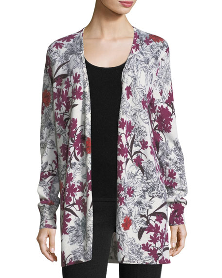 Neiman Marcus Cashmere Collection Cashmere Floral-Print
