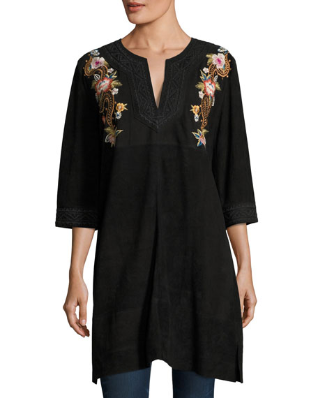 Johnny Was Esmerelda Suede Kaftan Tunic W/ Embroidery