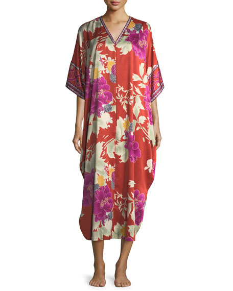 Natori Auburn Floral Zip-Front Caftan, Women's