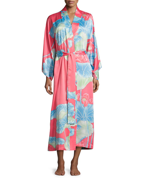 Natori Lian Floral-Print Long Robe