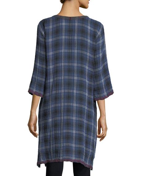 Bonnie 3/4-Sleeve Embroidered Plaid Short Caftan, Plus Size