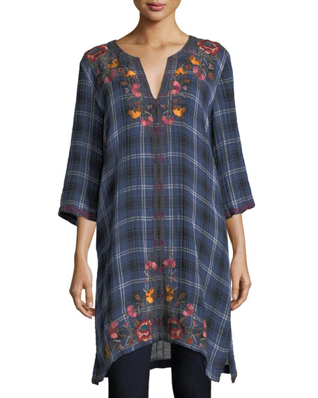 Johnny Was Bonnie 3/4-Sleeve Embroidered Plaid Short Caftan,