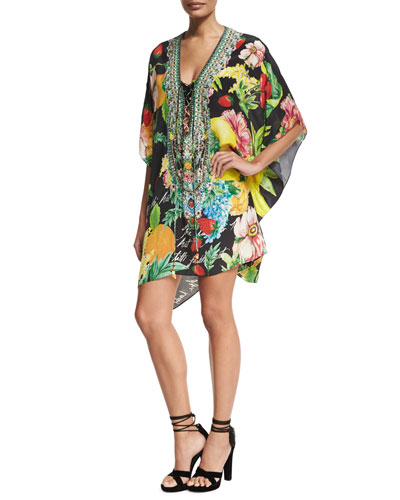 Short Lace-Up Embellished Silk Kaftan Swim Coverup