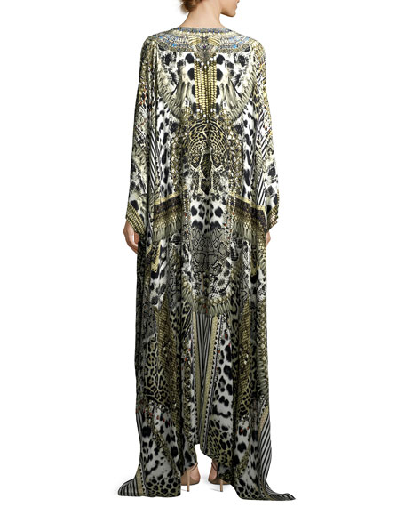 Slit-Front Printed Silk Kaftan Coverup, One Size