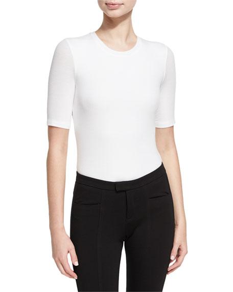 Rib-Knit Short-Sleeve Bodysuit