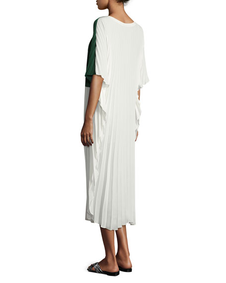 Alba Plissé Crêpe Caftan Dress, White
