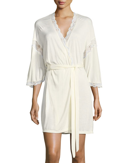 Eberjey Something Blue Robe with Lace Detail, Ivory