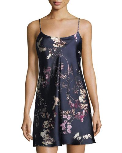 Pandora Floral-Print Silk Chemise