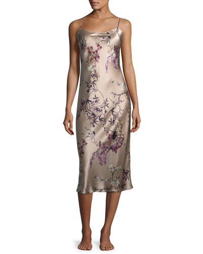 Pandora Floral-Print Silk Nightgown