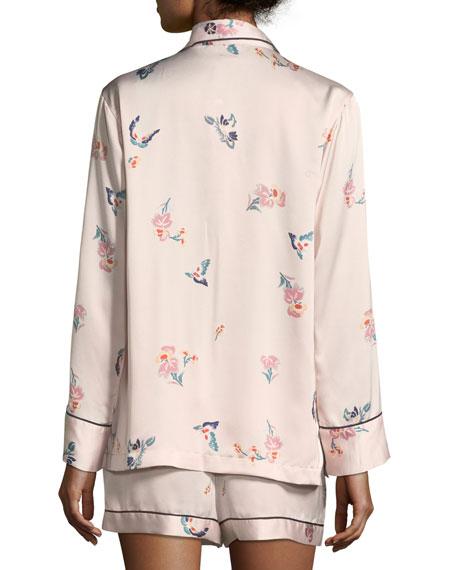 Papillon Floral-Print Satin Short Pajama Set