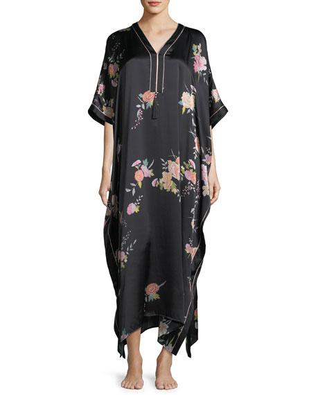 Josie Natori Midnight Garden Silk Caftan