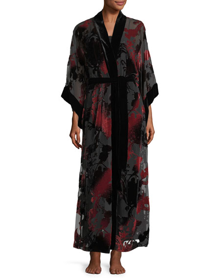 Josie Natori Shadow Velvet-Burnout Robe