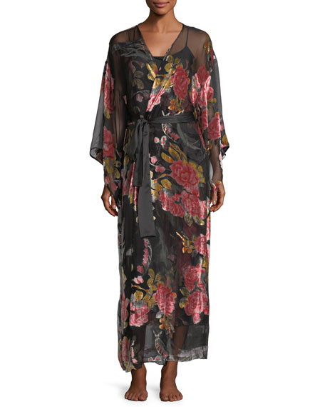 Velvet Burnout Kimono Robe