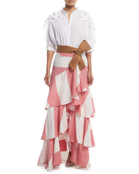 Bandelier Ruffle-Sleeve Poplin Blouse Bodysuit