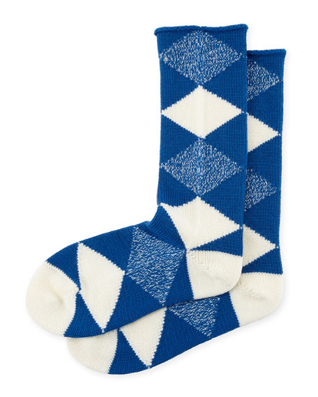 Merino Wool Argyle Check Socks, Cobalt