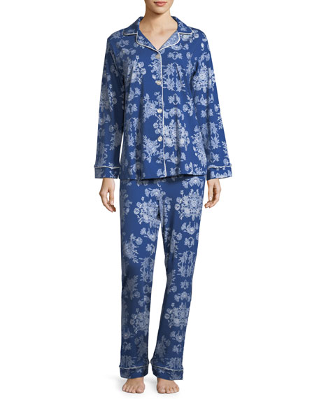 Mystery Garden Long-Sleeve Classic Pajama Set, Plus Size