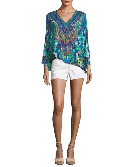 V-Neck Long-Sleeve Embellished Silk Kaftan, One Size