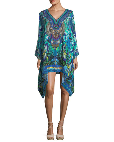 V-Neck Long-Sleeve Embellished Silk Kaftan