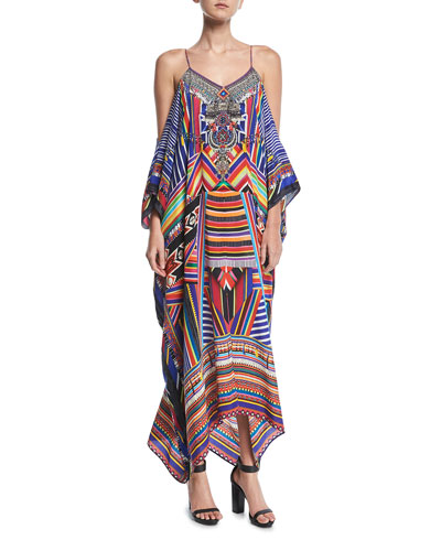 Long Printed Silk Kaftan Coverup