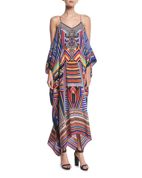 Camilla Long Printed Silk Kaftan Coverup, One Size