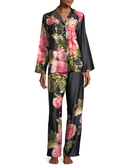 Natori Mandarin Floral-Print Charmeuse Pajama Set