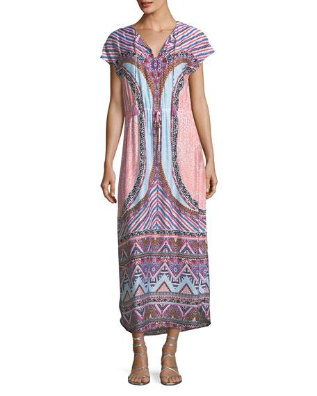 Seafolly  Sahara Nights Split-Neck Printed Long Kaftan Dress