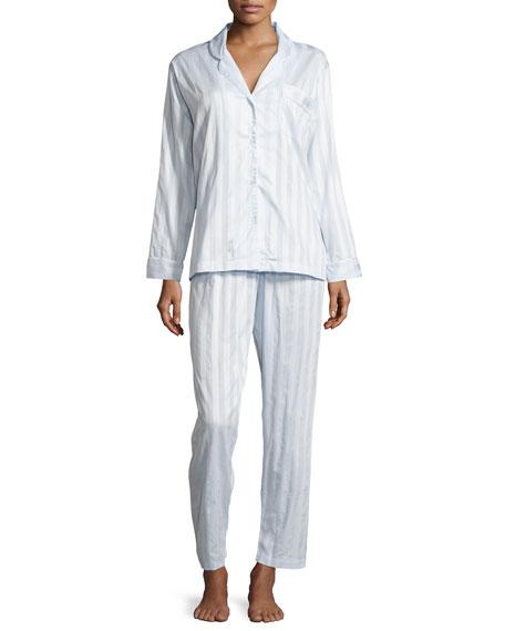 Tina Shadow-Stripe Long-Sleeve Long Pajama Set