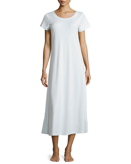 P Jamas Butterknit Short-Sleeve Long Gown
