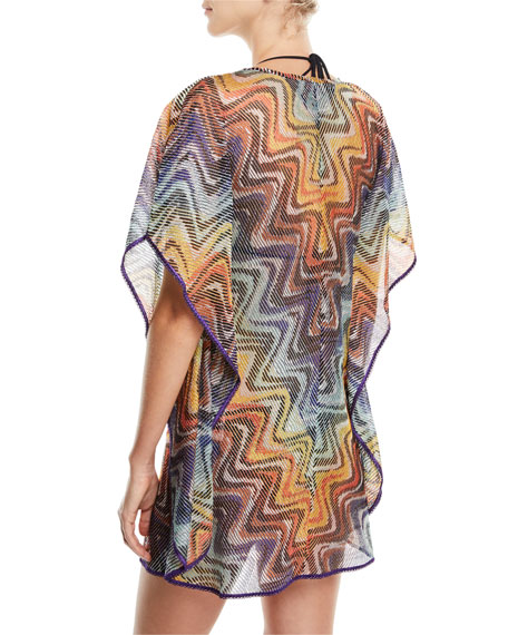 Short-Sleeve Wave Caftan Coverup