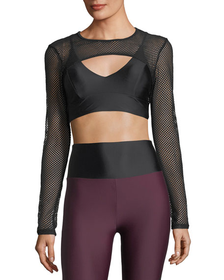 Lanston Boden Long-Sleeve Mesh Layered Sports Bra