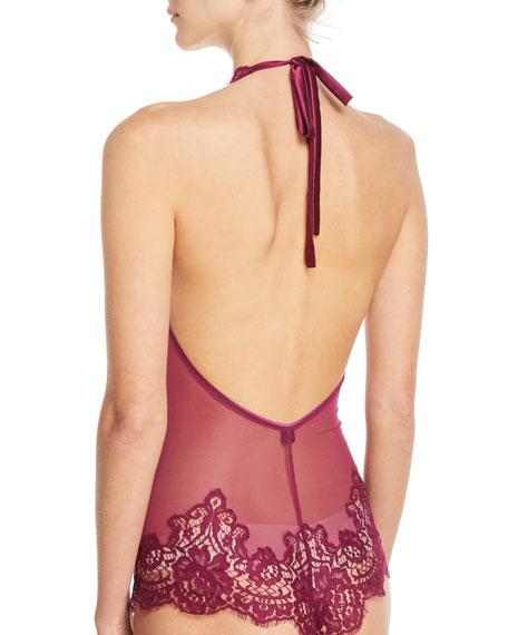 Colette Lace-Inset Halter Bodysuit