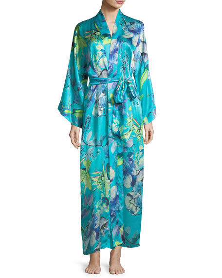 Christine Designs Capri Floral-Print Long Robe