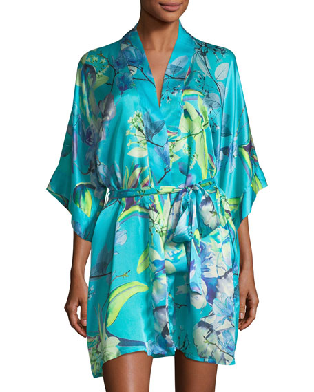 Christine Designs Capri Floral-Print Short Robe