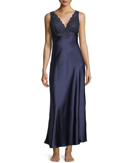 CHRISTINE DESIGNS Bijoux Lace-Trim Nightgown in Navy