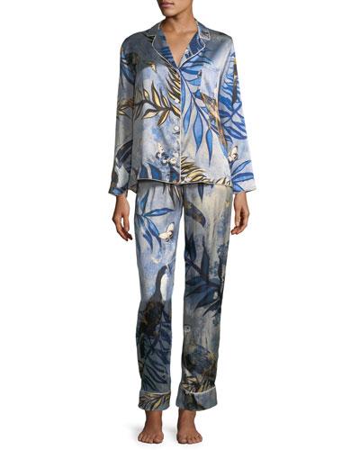Ines Palm Leaf-Print Classic Pajama Set