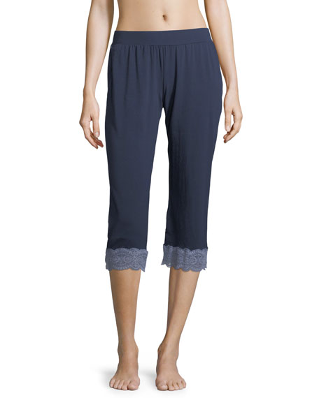 Sonia Crop Lace-Trim Lounge Pants