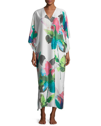 Water Lily Print Caftan, Plus Size