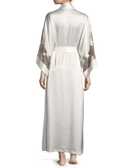 Lillian Lace-Trim Silk Robe
