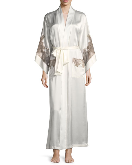 Josie Natori Lillian Lace-Trim Silk Robe
