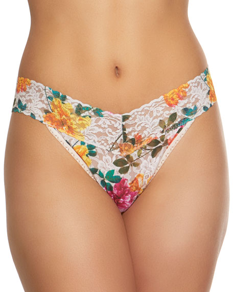 Hanky Panky Melissa Floral-Print Original-Rise Lace Thong