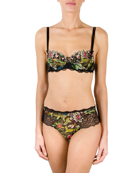 Fleur De Jungle Lace-Trim Boyshort Briefs