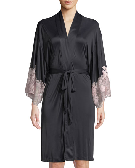 Josie Natori Harlow Lace-Trim Jersey Robe and Matching